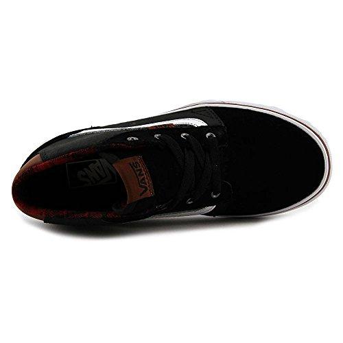 VANS - Zapato de cordones negro de ante y cuero, ojales de metal, identificado por el icónico motivo con banda lateral de cuero blanco, con una robusta parte superior de ante, Niño, Niños negro