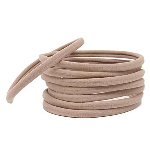 Price comparison product image Voberry® 50 pcs Baby Girl Elastic Solid Headband DIY Hair Accessories For Kids Headwear (Khaki)
