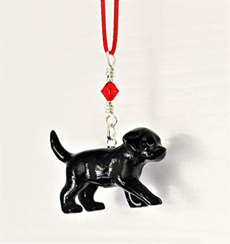 - Black Lab Labrador Retriever Puppy Small Dog Christmas Ornament Porcelain Figurine