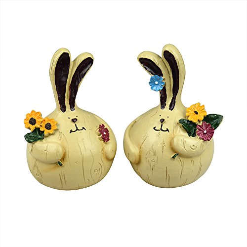 Set of 2 Lovely Village Style Fat Resin Couple Rabbit Pick-flowers for Garden Home Yard Ornaments Gift Decorative Craft