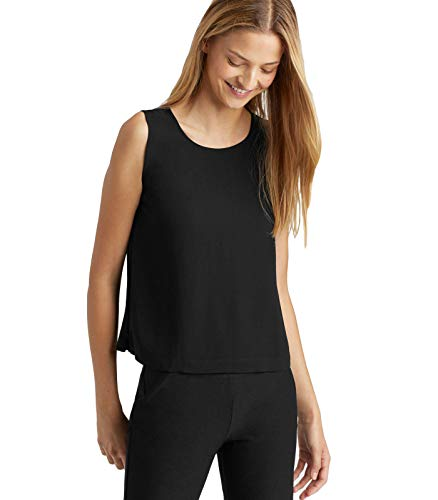 Eileen Fisher Black System Silk Georgette Crepe Boxy Shell top L