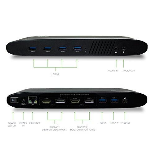Plugable USB 3.0 Dual 4K Display Horizontal Docking Station with DisplayPort and HDMI for Windows (Dual 4K DisplayPort & HDMI, Gigabit Ethernet, Audio, 6 USB Ports) by Plugable (Image #4)