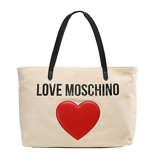 LOVE MOSCHINO Heart Logo Canvas Pebble Tote Bag, Beige by MOSCHINO
