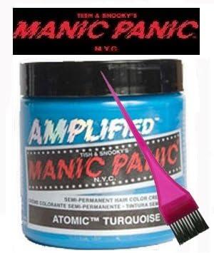Manic Panic Amplified tinte de pelo – Vegan tinte de pelo – turquesa Atómica Y Pincel para tinte