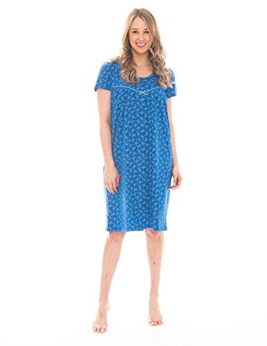 - Pink Lady Womens Knee Length Sleepshirt Loungewear (Azure Blue Butterfly, Medium)