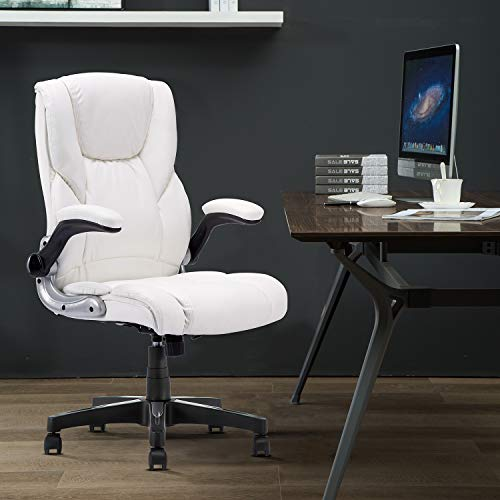 YAMASORO Ergonomic Executive Office Chair White, High Back Leather Computer Chair,Office Desk Chair with arms and Wheels, Swivel