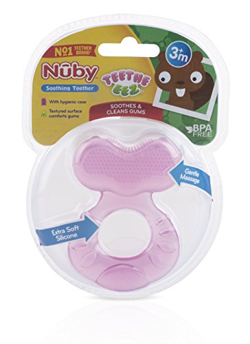 41EN4mnVJeL - Nuby Silicone Teethe-eez Teether with Bristles, Includes Hygienic Case, Pink