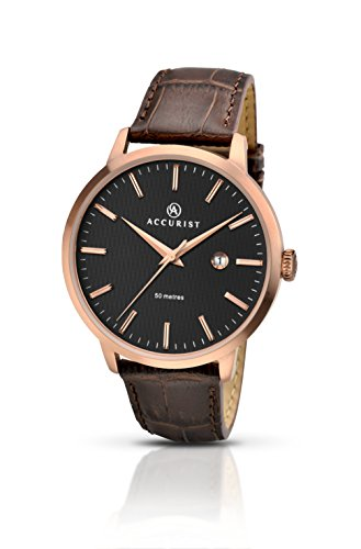 Accurist Men's Quartz Watch Black Dial Brown Leather Strap 7046