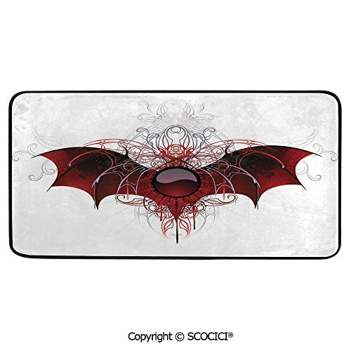 - Soft Long Rug Rectangular Area mat for Bedroom Baby Room Decor Round Playhouse Carpet,Vampire,Round Figure with Dragon Wings Grungy Display Victorian,39