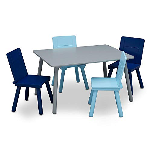 (Delta Children Kids Chair Set and Table (4 Chairs Included), Grey/Blue )