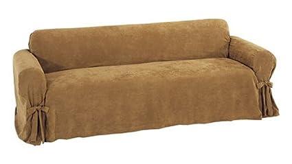 Perfect Classic Slipcovers Heavy Microsuede Sofa Slipcover, Cappuccino