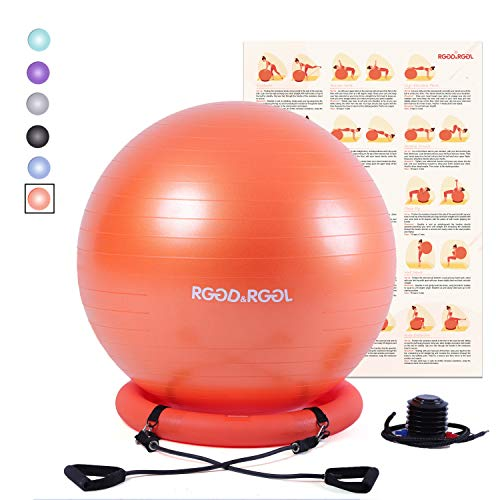 RGGD&RGGL Yoga Ball Chair, Exercise Balance Ball Chair 65cm with Inflatable Stability Ring, 2 Resistant Bands and Pump for Core Strength and Endurance (Exercise Ball Orange)
