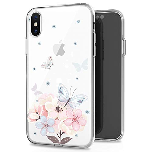 (JAHOLAN Pink Butterfly Flower Cute Girls Floral Design Clear TPU Soft Slim Flexible Silicone Cover Phone Case for iPhone Xs Max 2018 6.5 inch)