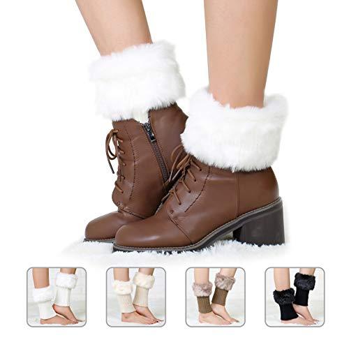 Women Boot Knit Cuffs, Winter Faux Fur Boot Cuff Knitting Leg Warmers 4Pair Winter Warm Crochet Knitted Boot Cuff Sock ()