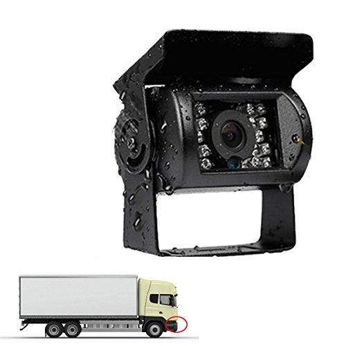 12-24V Front View Camera for Truck Car Camper Motorhome Free 30FT Video Cable Waterproof Heavy Duty Night Vision Non-Mirror Image No Parking Guide Lines