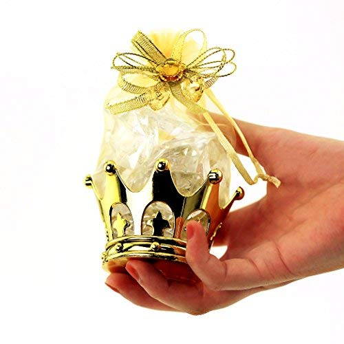 JC HUMMINGBIRD 48PC Gold Crown Pouch Fillable for Candies, Table Decorations, Party Favors, Keepsake, Baby Shower (Gold Decoration Crown)