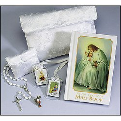 Traditional Memories First Communion Gift Set for Girls with Satin -