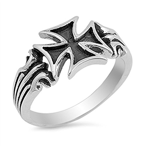 Men's Iron Cross Biker Ring New .925 Sterling Silver Band Size 8 - Cross Sterling Silver Biker Ring