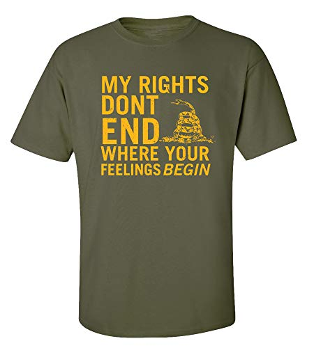 (Rights Don't End Where Feelings Begin 2nd Amendment Adult T-Shirt-Military-XXL)