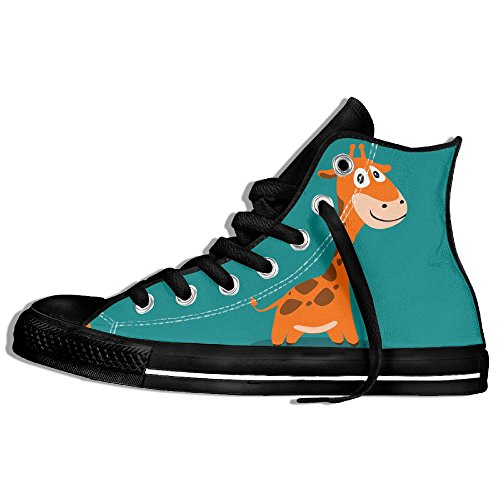 Classic High Top Sneakers Canvas Shoes Anti-Skid Giraffe Cartoon Casual Walking For Men Women Black ZK2kE89n