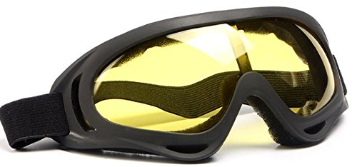 Ski Goggles Snowboard Goggles Full Mirror Coated Lens Spherical Lens UV Protection Anti fog Detachable Strap,yellow
