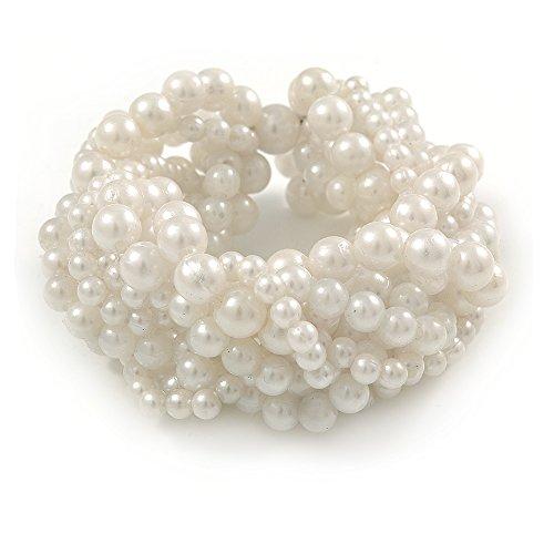- Avalaya Wide Chunky White Acrylic Bead Multistrand Plaited Bracelet - 19cm L - Large