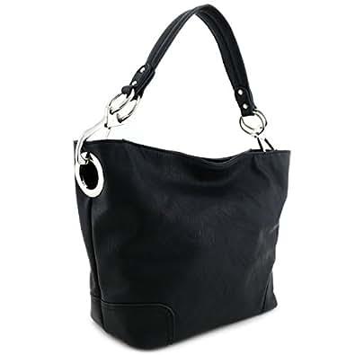 Women's Hobo Shoulder Bag with Big Snap Hook Hardware Black