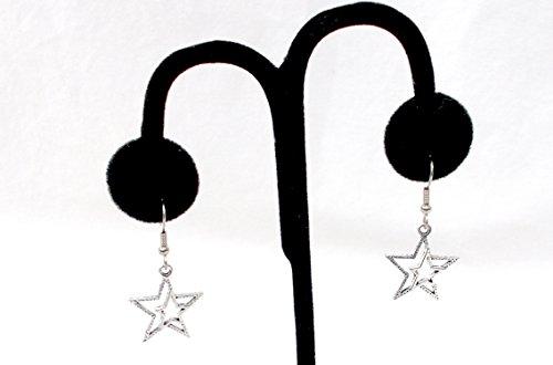 Double Star Stars Earrings Pewter Silver Hook 1 Inch ()
