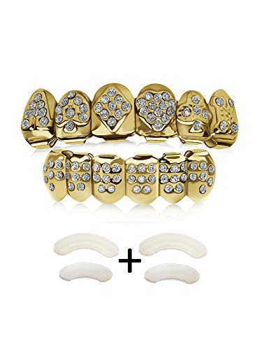 TSANLY Gold Grillz Poker Set Iced Out 24K Plated Gold Grill Excellent Cut Top & Bottom Caps Set and Rhinestone Like Diamonds Gag Gift for Kids + Microfiber Cloth