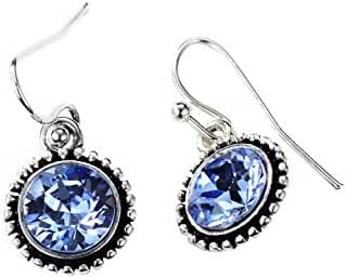 Neoglory Antique Silver Color MADE WITH SWAROVSKI ELEMENTS Blue Crystal Drop Earrings for Sensitive Ears