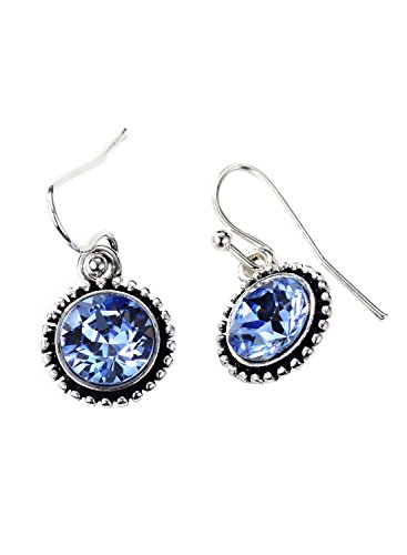 Neoglory Antique Silver Color Blue Crystal Drop Earrings for Sensitive Ears Embellished with Crystals from Swarovski 1 Silverplate Swarovski Crystal