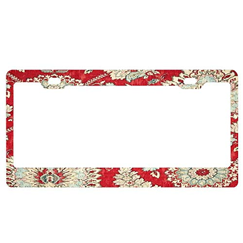 YUMHlicenseplateframeLL Floral Brocade Tapestry Bold Red Gold Moroccan Print License Plate Frame Glitter Waterproof License Plate Covers Cute Car Tag Frame