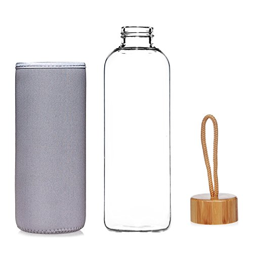Life4u Sports Borosilicate Glass Water Bottle With Bamboo Lid Bpa
