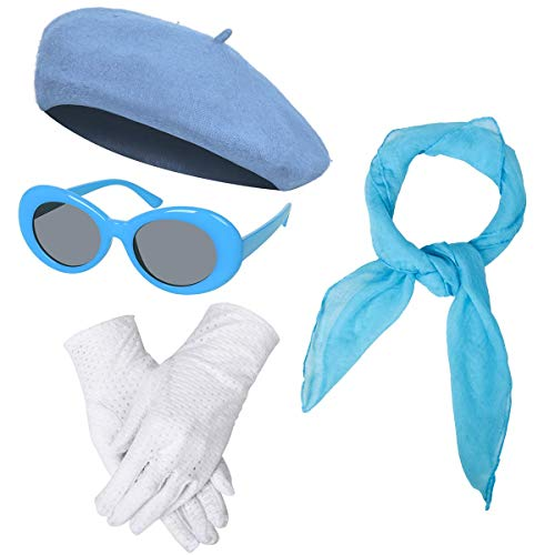 Women Girls French Themed Party Beret Hat Chiffon Scarf Gloves Retro Oval Sunglasses Fancy Dress Costume Accessories Set (Blue)