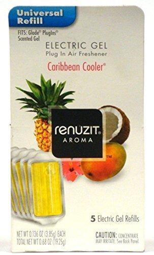 (Renuzit Electric Gel Plug in Air Freshener, Caribbean Cooler, 0.68 Ounce (Pack of 6) Total 30 Refills by)