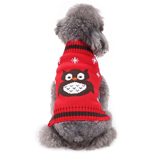 Puppy Clothes,2017 New Hot Sale Colorful Owl Pattern Pet Dog Cute Clothes Puppy Winter Sweater by Neartime (XS, Red) -