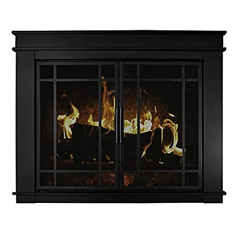 Pleasant Hearth Fillmore Glass Firescreen, Width: 36
