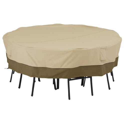 Classic Accessories Veranda Patio Square Table and Chairs Cover for 8-Chair – Durable and Water Resistant Patio Set Cover (55-228-011501-00)