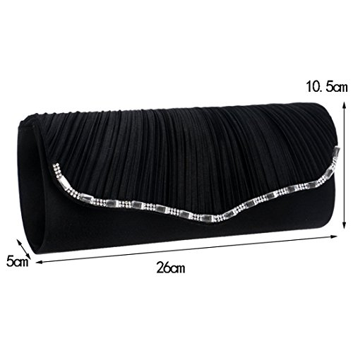 Female Trade Shoulder Fashion Clutch Black America Bag Foreign Color One Dinner Luxury Socialite And Pleated Black Europe Bag bag Bride Diagonal Fly evening AOXFqF