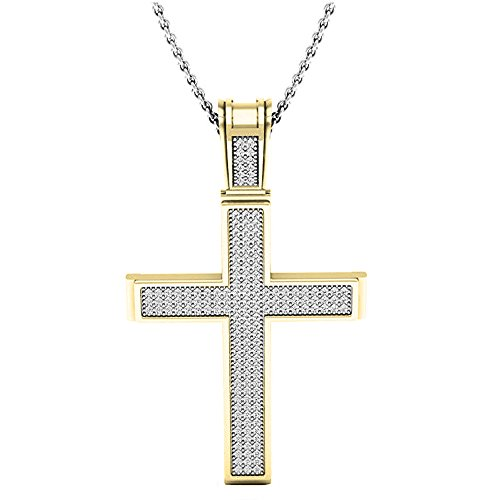 0.45 Carat (ctw) 14K Yellow Gold Round Diamond Men's Religious Cross Pendant 1/2 CT (1/2 Cross Diamond Ct Pendant)