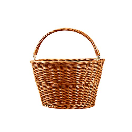 sweetyhomes Bike Basket Adult Front Handlebar Wicker Bicycle Basket Bicycles Cane Woven Rectangular Basket with Authentic Leather Straps