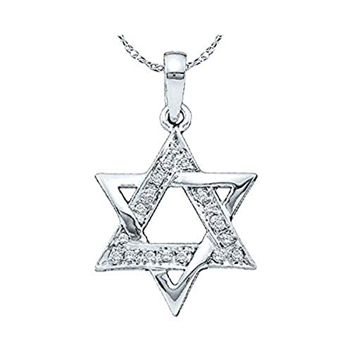 Ladies Diamond Star Magen David Jewish Pendant 1/10 Carat tw, in 10K White Gold from Roy Rose Jewelry (Religious Gold White Jewish Pendant)