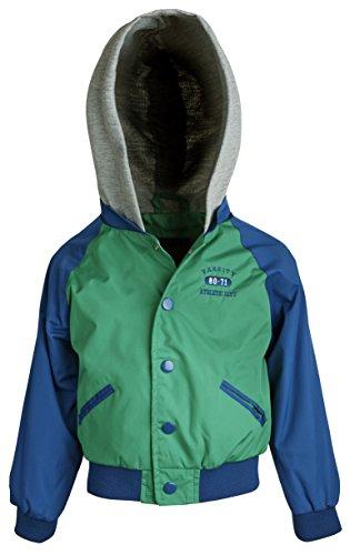 iXtreme Baby Boys Lightweight Water Resistant Hooded Varsity Windbreaker Jacket - Green (18 Months)