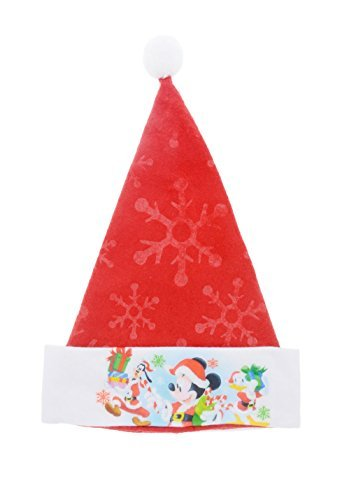 Disney Mickey & Minnie Mouse Festive Felt Santa Hats with Embossed Designs (Mickey)