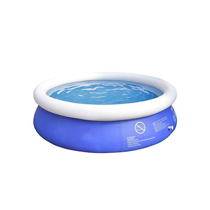 41EN92e92iL Fácil de instalar: nuestra piscina es fácil de instalar, y llene la piscina inflable con agua unos diez minutos. Diferentes capacidades: las piscinas de diferentes tamaños pueden contener diferentes números de personas, 6 pies x 29 pulgadas pueden contener 2 niños; 8 pies x 30 pulgadas pueden contener 3 niños; 10 pies x 30 pulgadas pueden contener 4 ~ 5 niños; 12 pies x 30 pulgadas pueden contener 5 ~ 6 niños. Por favor elige el tamaño que necesitas. Duradero: nuestras piscinas exteriores están hechas de una capa intermedia de PVC de protección ambiental de alta calidad, protección ambiental e inofensiva. Puede disfrutar de la piscina con su familia en el terreno plano del patio trasero.