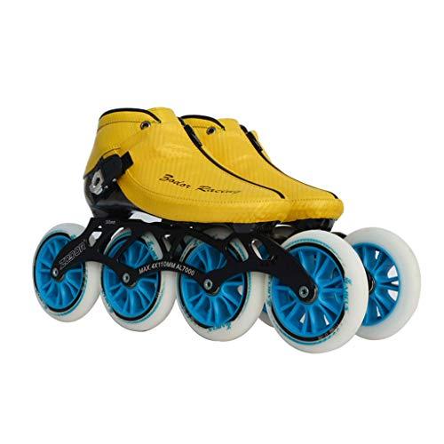 ジムガラガラ羨望ailj スピードスケートシューズ90MM-110MM調整可能なインラインスケート、ストレートスケートシューズ(3色) (色 : 青, サイズ さいず : EU 42/US 9/UK 8/JP 26cm)
