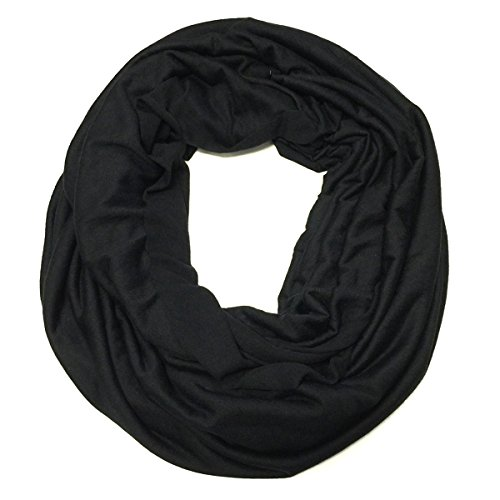 Wrapables Soft Jersey Knit Infinity Scarf, Black