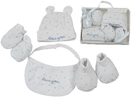 100/% coton taille 0-3 mois KING BEAR Magnifique coffret//kit cadeau naissance 4 pi/èces comprenant 1 bonnet 1 paire de chausson 1 paire de moufles et 1 bavoir