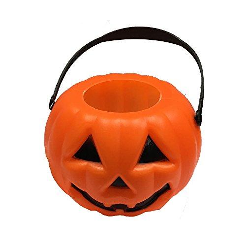 small mini plastic light up o lantern pumpkin trick or treat