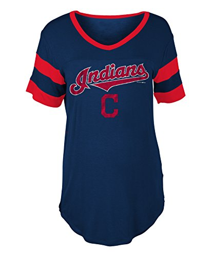 Cleveland Indians Women's Distressed Arch Logo V-Neck T-shirt (Cleveland Indians Arch)